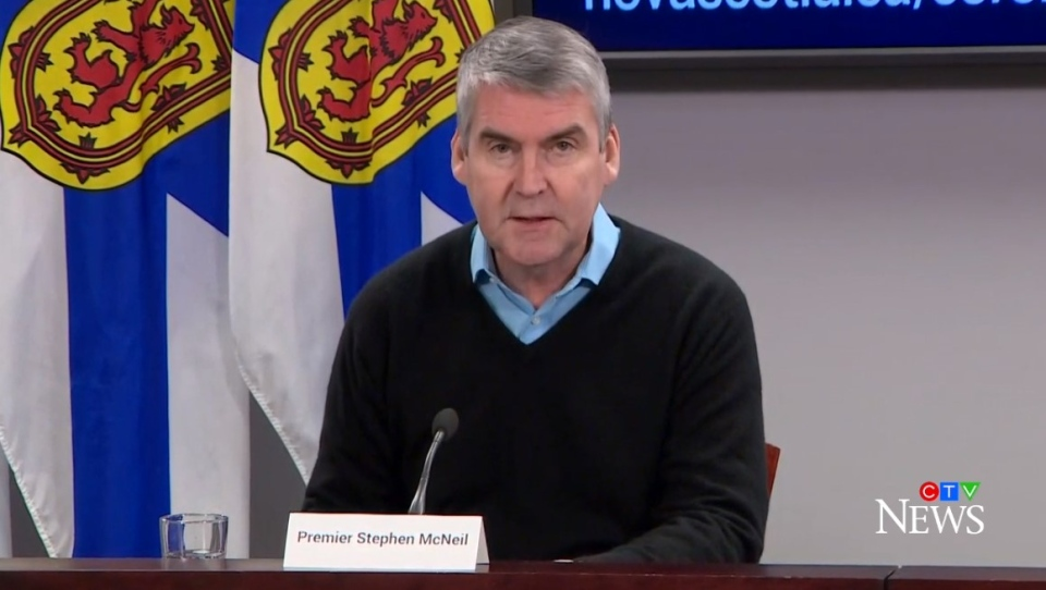 Nova Scotia Premier Stephen McNeil provides an update on COVID-19 during a news conference in Halifax on March 24, 2020.