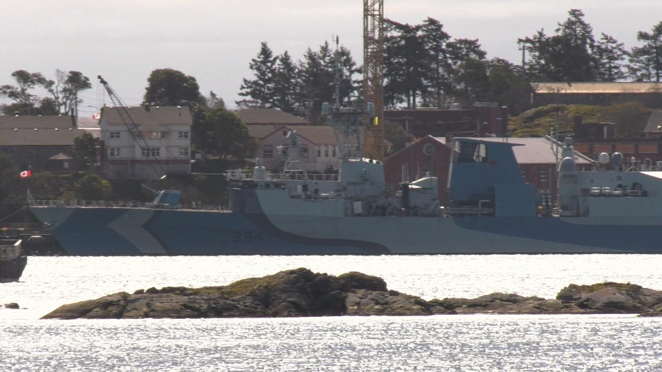 Canadian frigate HMCS Regina sits in Esquimalt Harbour with an estimated 225 sailors aboard on Monday, March 24, 2020. (CTV News)