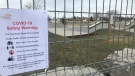 Tecumseh skate park is closed due to the COVID-19 pandemic in Tecumseh, Ont., on Tuesday, March 24, 2020. (Angelo Aversa / CTV Windsor)