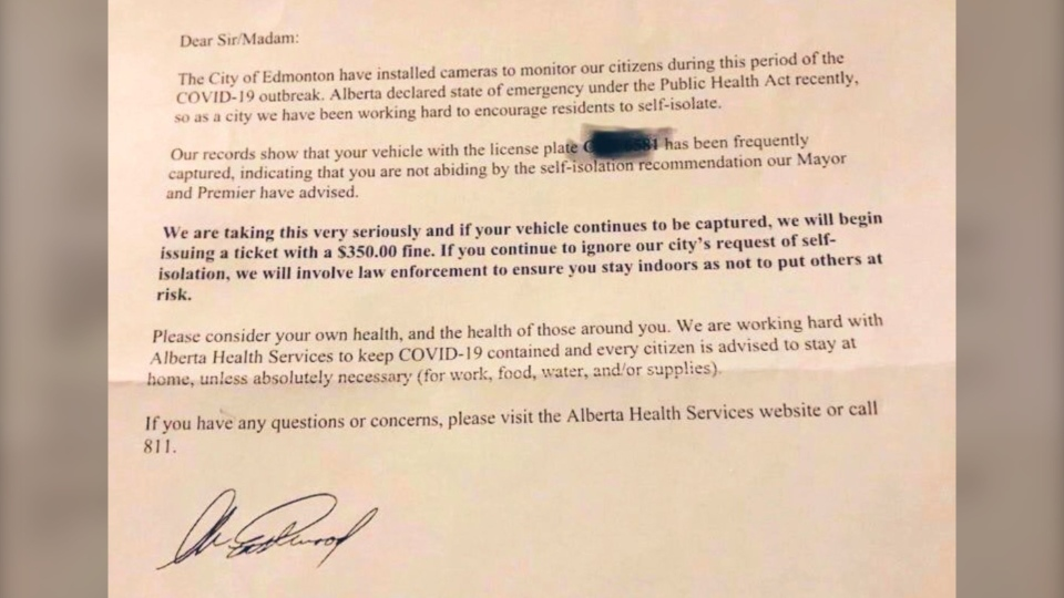 A letter threatening action for people driving during the COVID-19 pandemic is not from the City of Edmonton, a councillor said Tuesday, March 24, 2020. (Twitter/@Ward4Aaron)