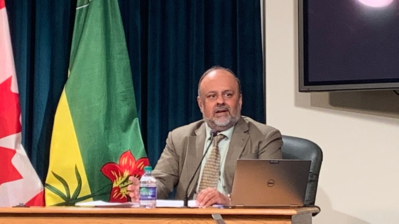 Dr. Saqib Shahab speaks at a press conference on March 24, 2020 (Marc Smith / CTV News Regina)
