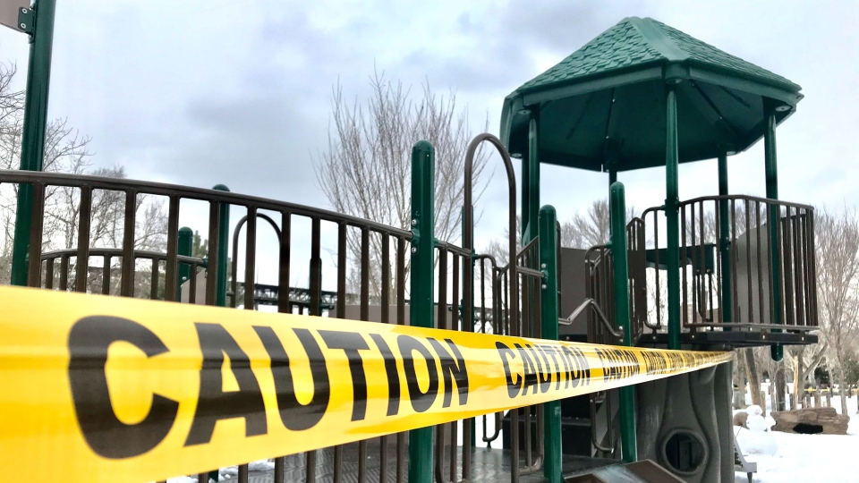 The 'Bear's Lair' playground at Kinsmen Sports Centre is just one of the many outdoor playgrounds ordered closed by the City of Edmonton Tues., March 24, 2020. (CTV News Edmonton)