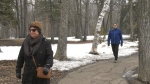 Photo of Leah Barnlund and Wenda Dickens walking at St. Vital Park. (Source: Josh Crabb/ CTV News Winnipeg)