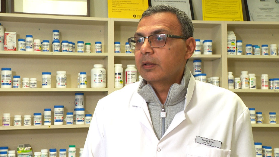 Sam Bolos, who runs Mina Pharmacy in Scarborough, Ont., talks to CTV News on Tuesday, March 24, 2020.
