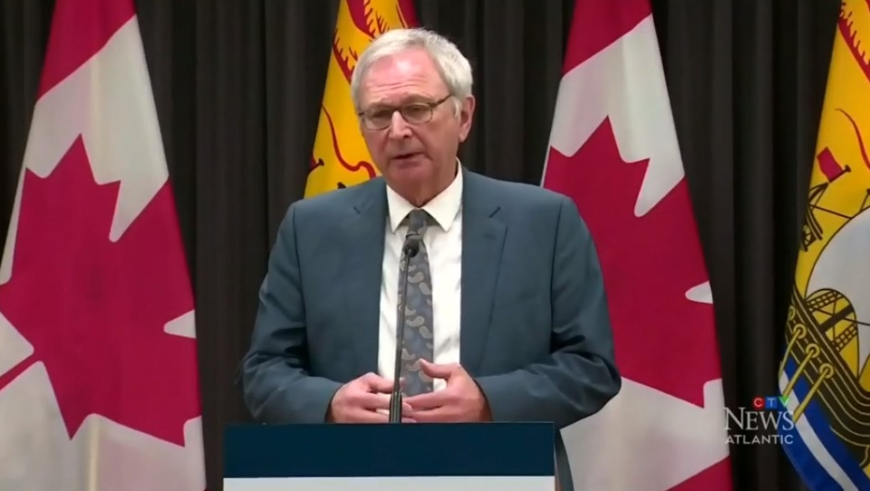New Brunswick Premier Blaine Higgs provides an update on COVID-19 during a news conference on March 24, 2020.