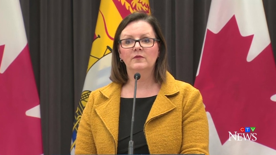 Dr. Jennifer Russell, New Brunswick's chief medical officer of health, provides an update on COVID-19 during a news conference on March 25, 2020.