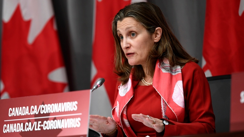 Deputy Prime Minister Chrystia Freeland speaks at a press conference on COVID-19 at West Block on Parliament Hill in Ottawa, on Wednesday, March 25, 2020. THE CANADIAN PRESS/Justin Tang
