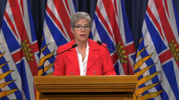 B.C. Housing Minister Selina Robinson details the government's new renters' rebate for those impacted by COVID-19 from Victoria, B.C. on Wednesday, March 25, 2020.