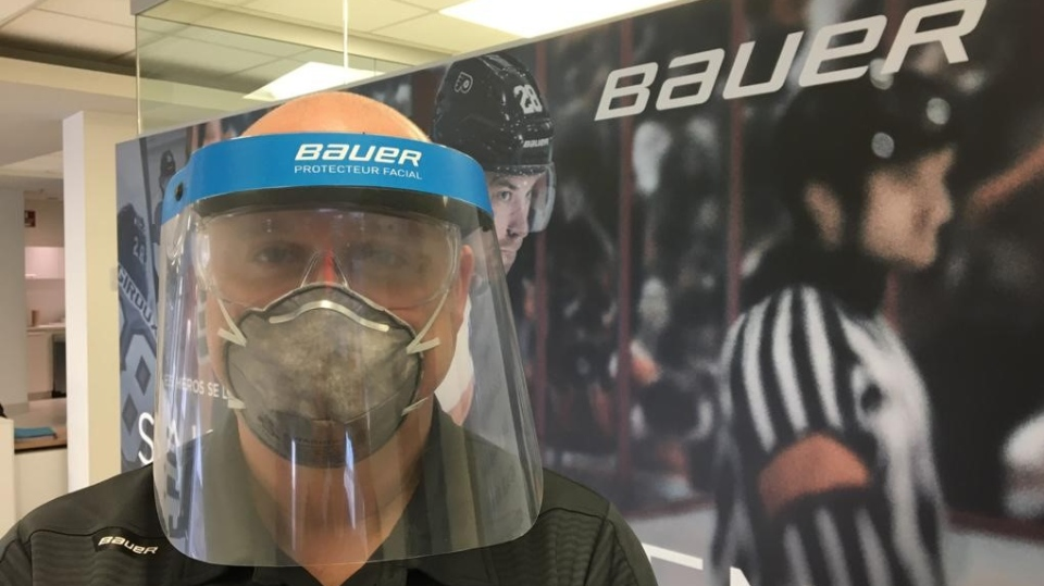 A man wears a protective mask in a handout photo. Canadian hockey equipment manufacturer Bauer is offering to modify its production line to make protective visors for doctors, nurses and first responders. THE CANADIAN PRESS/HO-Bauer-Ivan Labonte mandatory credit