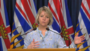 B.C.'s provincial health officer Dr. Bonnie Henry announces new COVID-19 cases from Victoria on Wednesday, March 25, 2020. (CTV News)