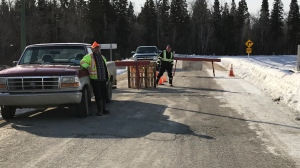Cumberland House Cree Nation has established a road blockade at the main point of entry into Cumberland House to stop non-community members and illegal drugs from entering. (Lisa Risom/CTV Prince Albert)