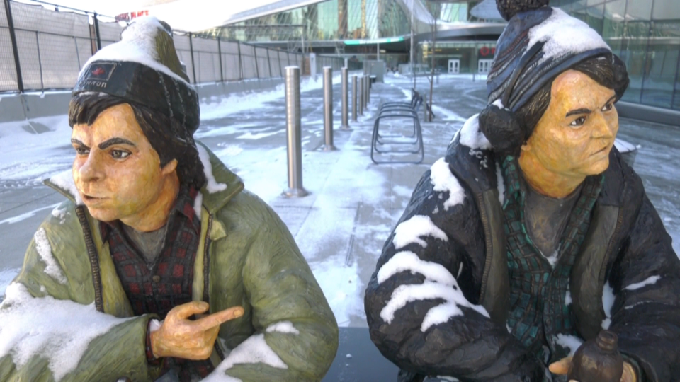 Life-like statues of SCTV characters Bob and Doug McKenzie. March 25, 2020. (CTV News Edmonton)