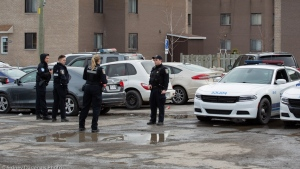 A man is in custody after a 54-year-old woman was stabbed in her apartment Mar. 25, 2020. SOURCE Sidney Dagenais