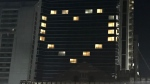 Eighteen windows are lit up in the Delta Armouries hotel to make the shape of a heart. (Viewer Submitted)