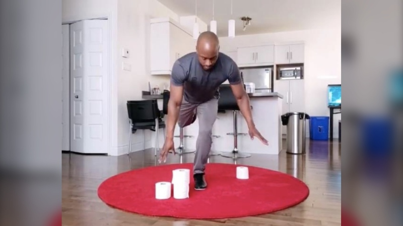 While in self-isolation, Montreal trainer Jason Altidor has come up with a unique home workout using, well, toilet paper. (Credit: Jason Altidor)