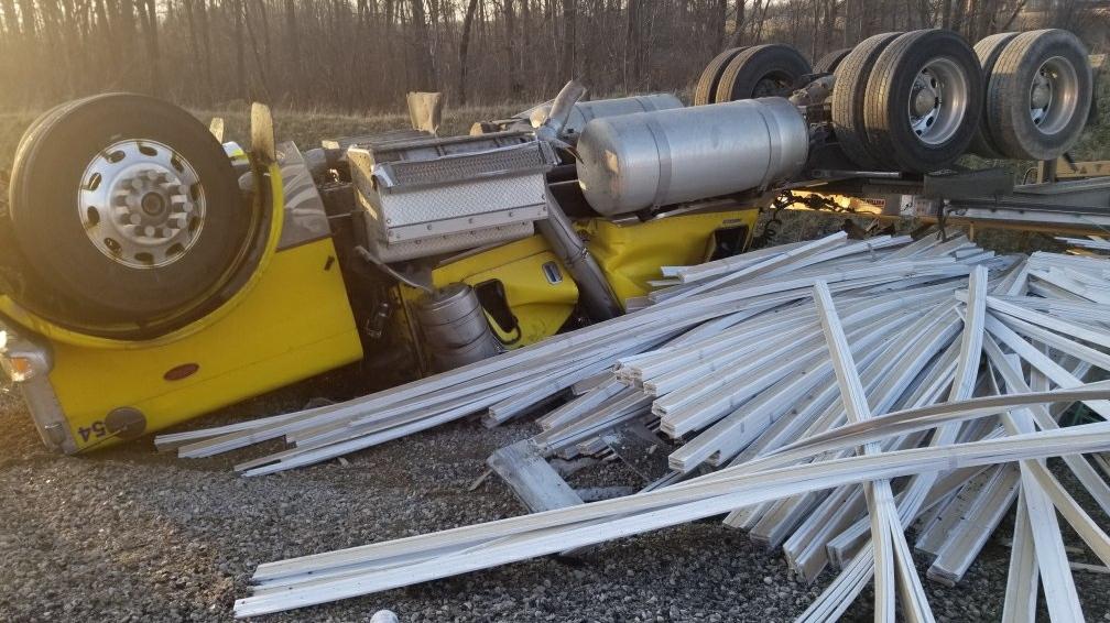 Transport Truck Crash in Southwold, ON
