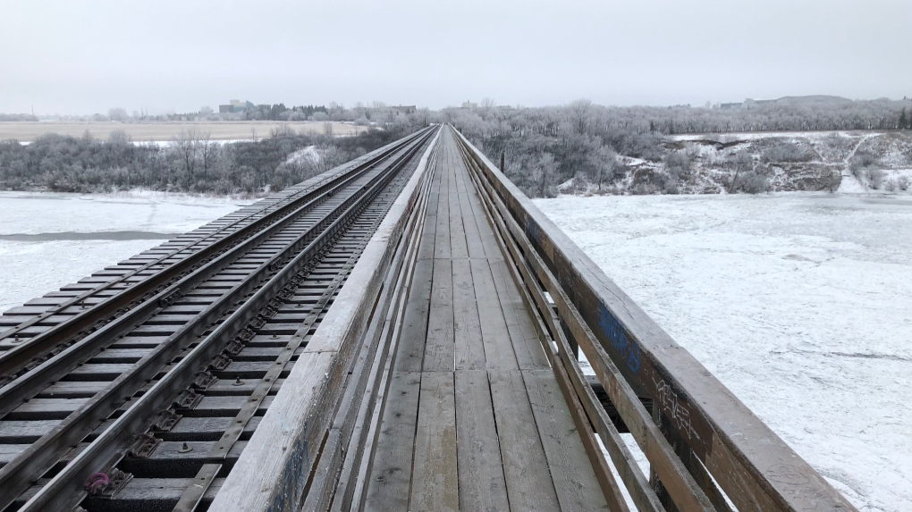 CP Rail Pedestrian bridge Saskatoon winter