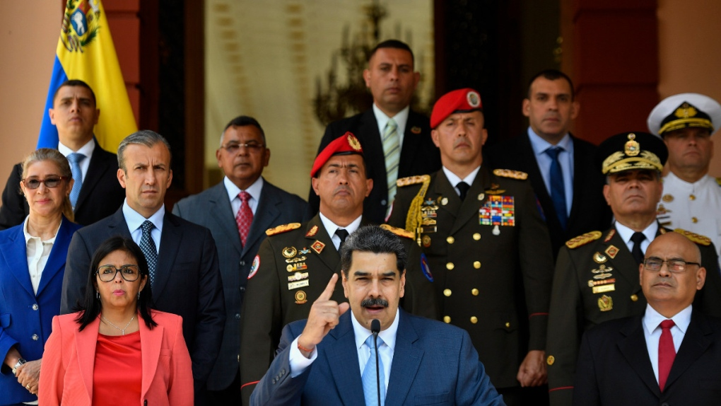 Venezuela's President Nicolas Maduro, centre
