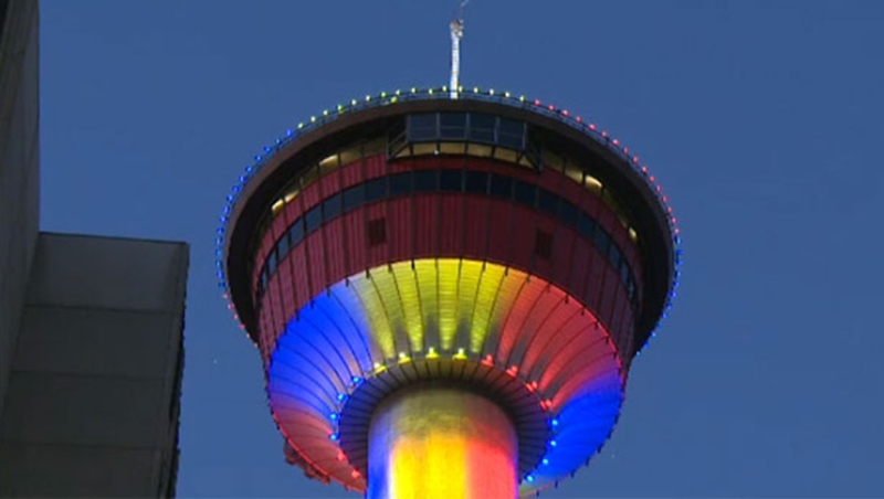 Calgarians are being asked to submit their designs for the Calgary Tower's LED light display (file)