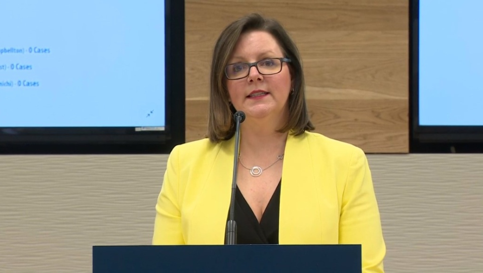 Dr. Jennifer Russell, New Brunswick's chief medical officer of health, provides an update on COVID-19 during a news conference on March 26, 2020.