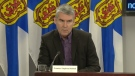 Nova Scotia Premier Stephen McNeil provides an update on COVID-19 during a news conference in Halifax on March 26, 2020.