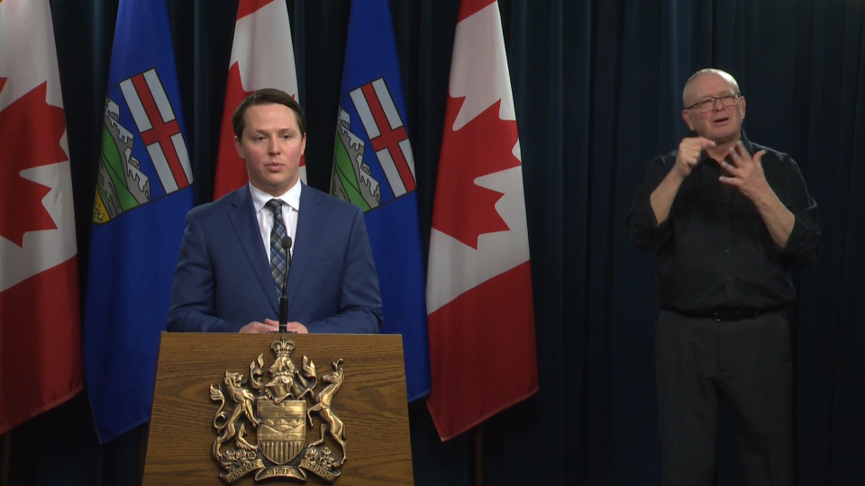 Alberta's minister of agriculture and forestry, Devin Dreeshen, reassures Albertans on March 26 there is no issue with its food supply chain, and no need for panic buying.