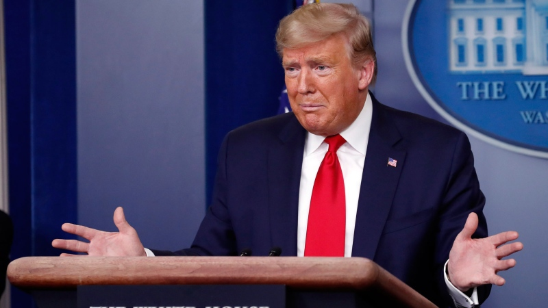 U.S. President Donald Trump speaks about the coronavirus in the James Brady Briefing Room, Thursday, March 26, 2020, in Washington. (AP Photo/Alex Brandon)