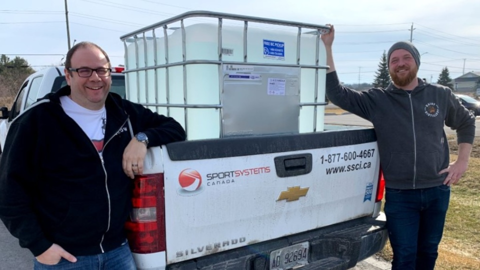 The Dairy Distillery in Almonte produced 1,000 litres of hand sanitizer for the Ottawa Hospital (Photo courtesy: Twitter/DairyDistillery)