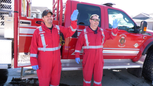 Firefighters in Warman, Sask. deliver birthday greetings from a distance on March, 26 2020.