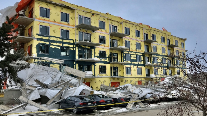 Scaffolding collapsed outside an Edmonton construction site on Mar. 26, 2020. (Credit: Clinton Senkow)