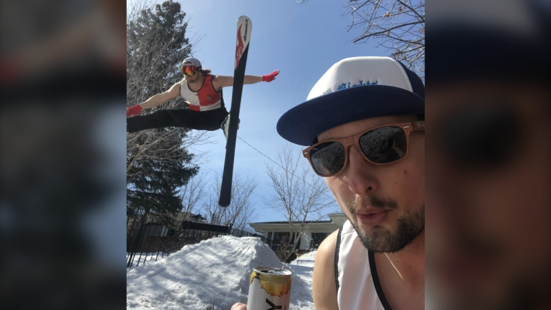 James Buchanan and Eric Lopatinsky built a ski jump in their Upper Mount Royal backyard to entertain themselves during the COVID-19 pandemic.
