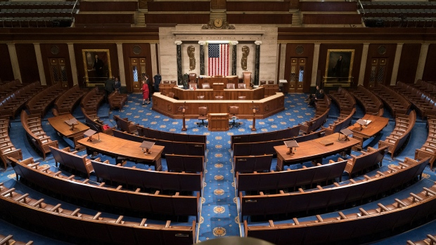In this file photo from Jan. 3, 2019, the House of Representatives chamber is seen on the first day of the 116th Congress. (AP Photo/J. Scott Applewhite)