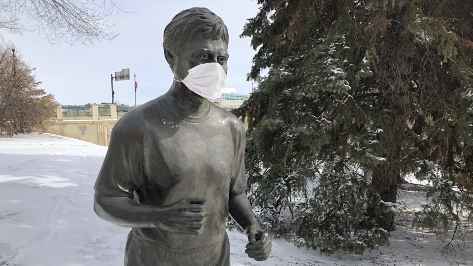 A photo Saskatoon's iconic Denny Carr statue taken on March, 26 2020.