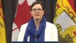 Dr. Jennifer Russell, New Brunswick's chief medical officer of health, provides an update on COVID-19 during a news conference on March 27, 2020.