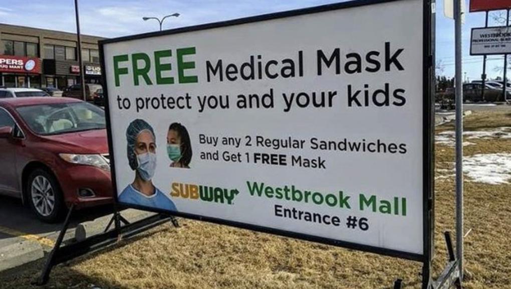 medical mask, ppe mask, subway, westbrook mall, ca
