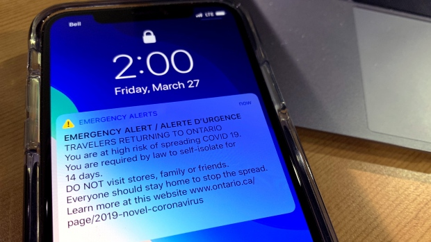 An emergency alert regarding COVID-19 is seen to Ontario phones on March 27, 2020.