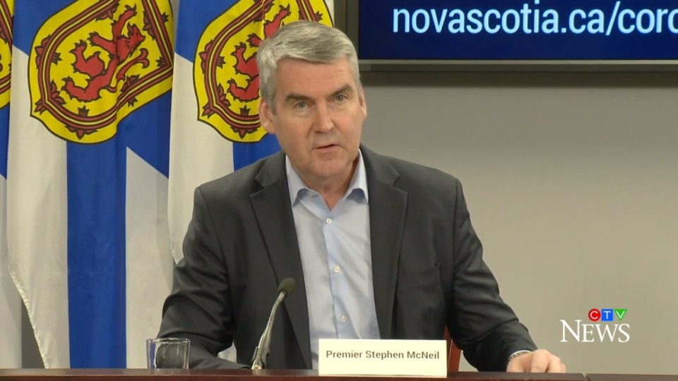 Nova Scotia Premier Stephen McNeil provides an update on COVID-19 during a news conference on March 27, 2020.