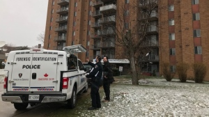 Patrol officers responded to an apartment in the area of Tecumseh Road and Ouellette Avenue in Windsor, Ont., on Monday, March 23, 2020. (Teresinha Medeiros / AM800 News)