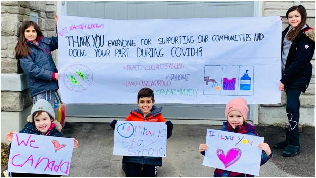 Wendy Pereira's kids are using their time during homeschooling in Richmond Hill to show some of their gratitude and love to everyone who is fighting the COVID-19 outbreak in Ontario.