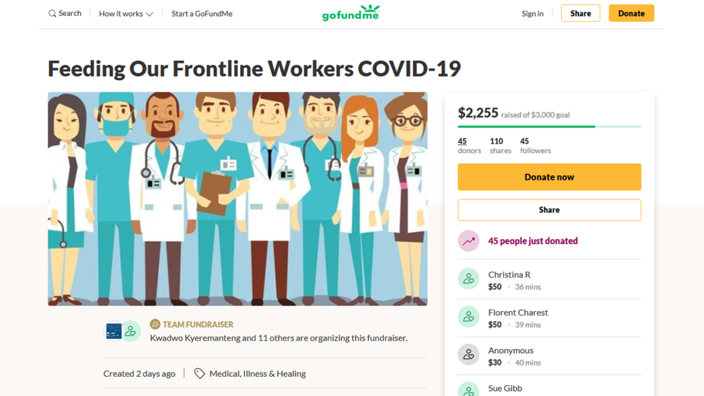 Frontline Health Care Workers Go Fund Me Page