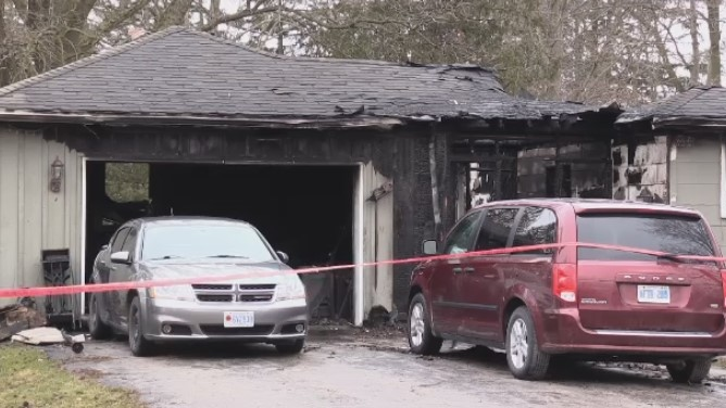 Officials have launched an arson investigation regarding an early morning fire that destroyed a family's home in Clinton. (CTV London).