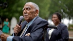 In this Aug. 14, 2013, file photo, civil rights leader the Rev. Joseph E. Lowery speaks at an event in Atlanta announcing state lawmakers from around the county have formed an alliance they say will combat restrictive voting laws. (AP Photo/David Goldman, File)