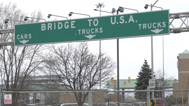The route to the Ambassador Bridge, linking Windsor, Ont. and Detroit, MI., is seen on March 24, 2020. (Ricardo Veneza / CTV Windsor)