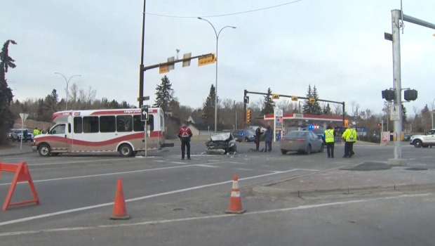 Passenger ejected from back window of transit bus in Calgary