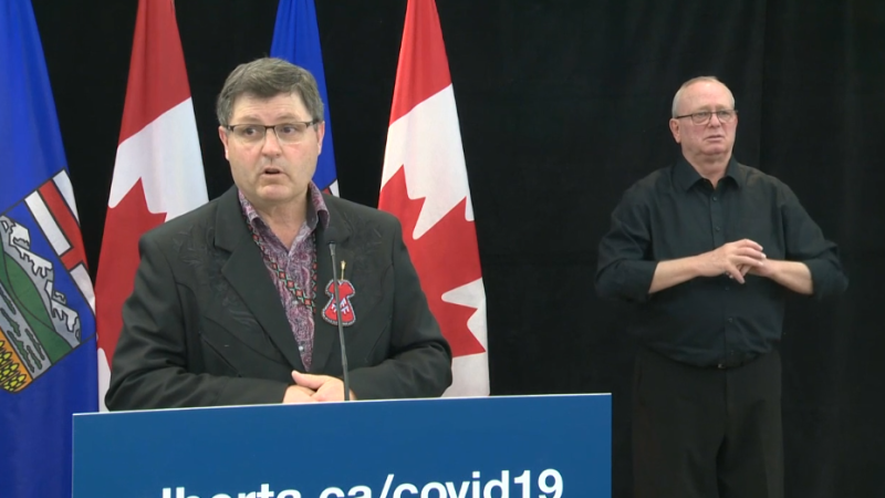 Alberta's Indigenous Relations Minister, Rick Wilson, speaks to the media on March 28, 2020.