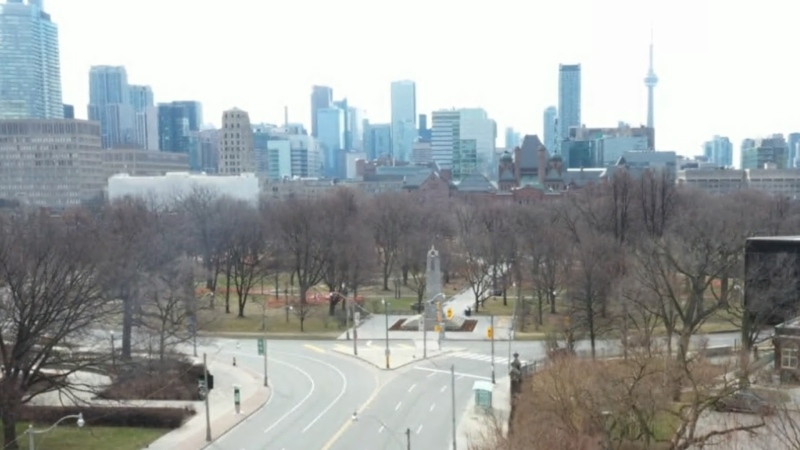 Queen's Park and the Toronto skyline are shown in a screengrab from video shot by a CP24 drone.