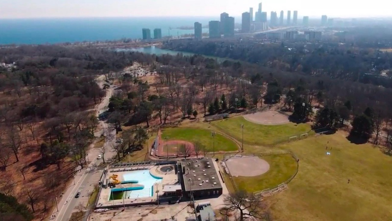 An aerial view of an empty High Park amid the COVID-19 pandemic. (CP24 Drone)