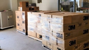 Boxes of N95 masks to be donated to Public Health. University of Guelph is planning more aid for health officials. (Courtesy: University of Guelph)