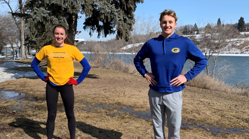 Shanna and Blake Tierney go for runs and do other workouts by the South Saskatchewan River to stay fit during the COVID-19 pandemic. (Nicole Di Donato/CTV News)