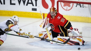 Calgary Flames goalie David Rittich in NHL hockey action, on March 8, 2020.(Jeff McIntosh / THE CANADIAN PRESS)